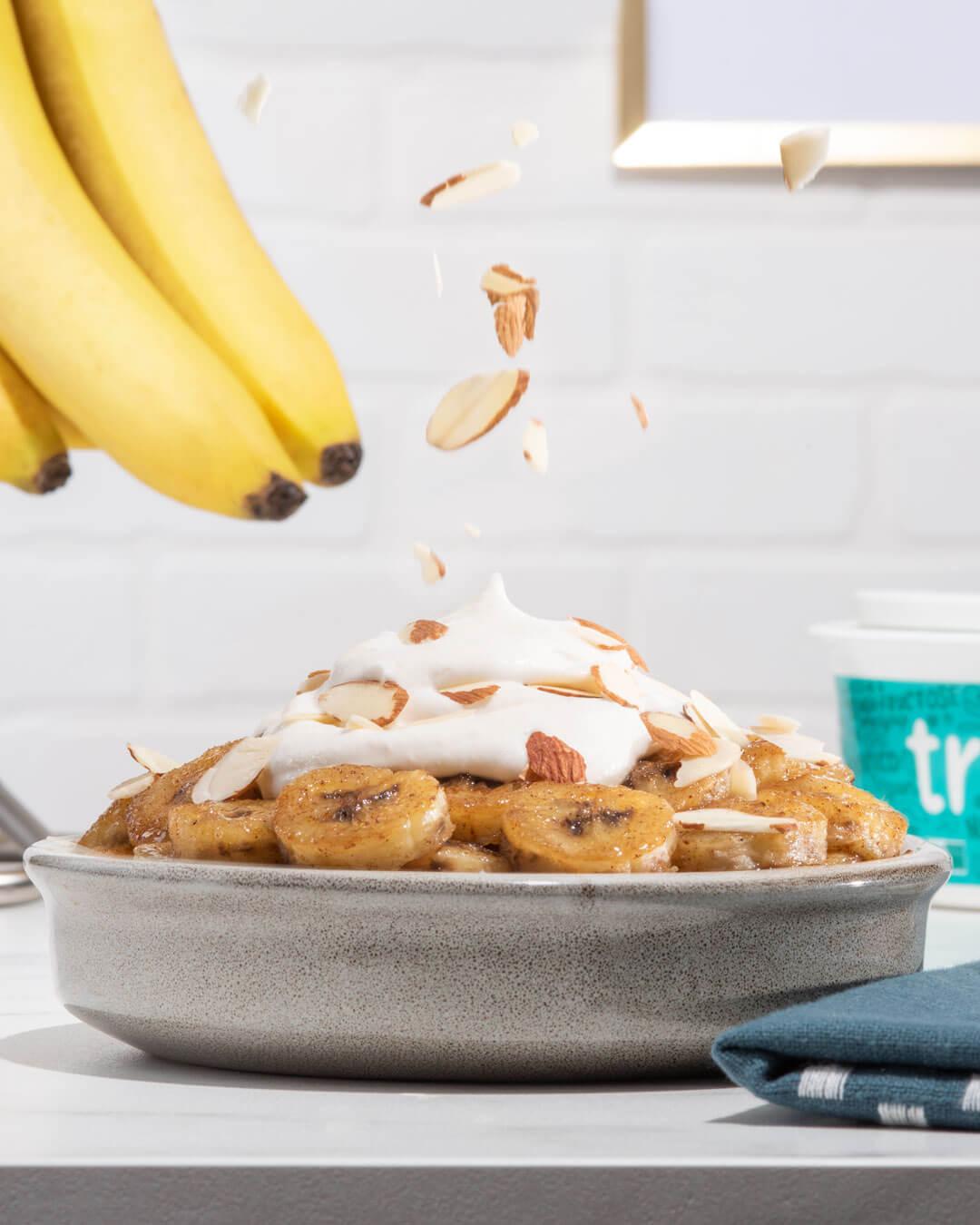 vegan pan fried cinnamon bananas