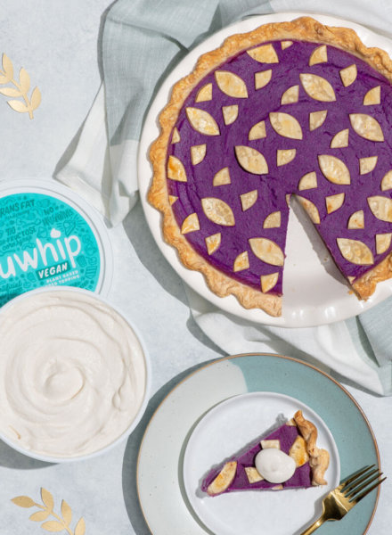 vegan purple sweet potato pie with truwhip